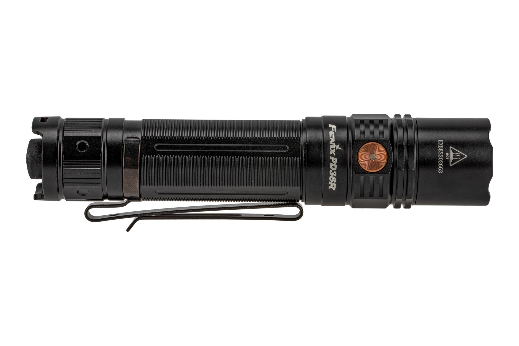 Fenix Lights PD36R 1600 lumen rechargeable flashlight features a removable 2-position dual pocket clip