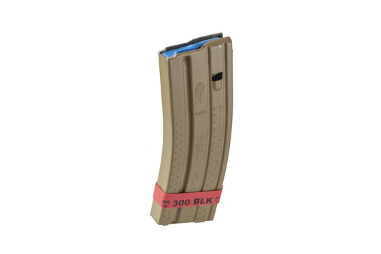 Faxon Firearms 300 BLK magazine marker band is bright red to provide a fast identification for safe ammo storage