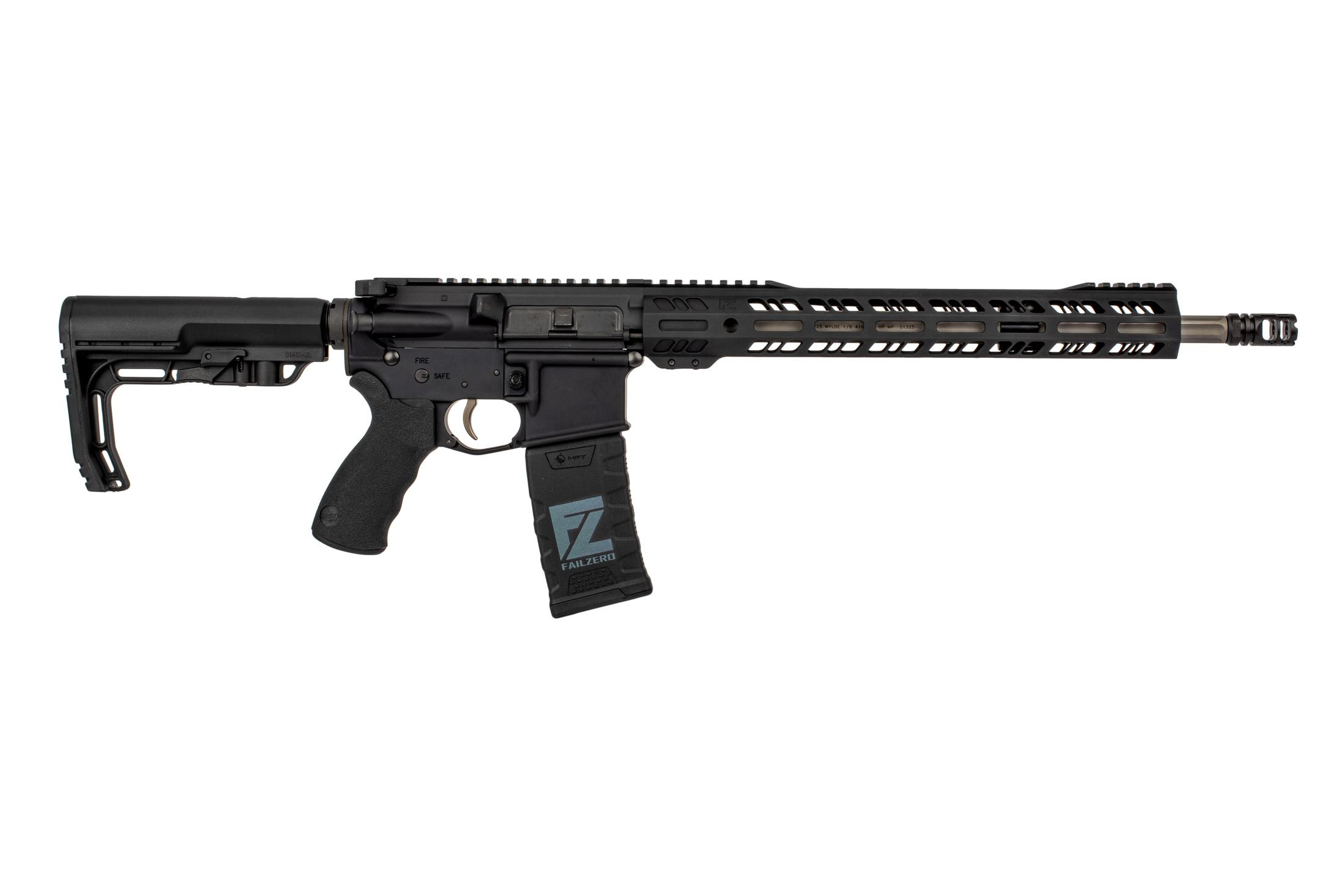 FailZero Elite AR15 rifle is chambered in 223 wylde with a 16 inch fluted barrel