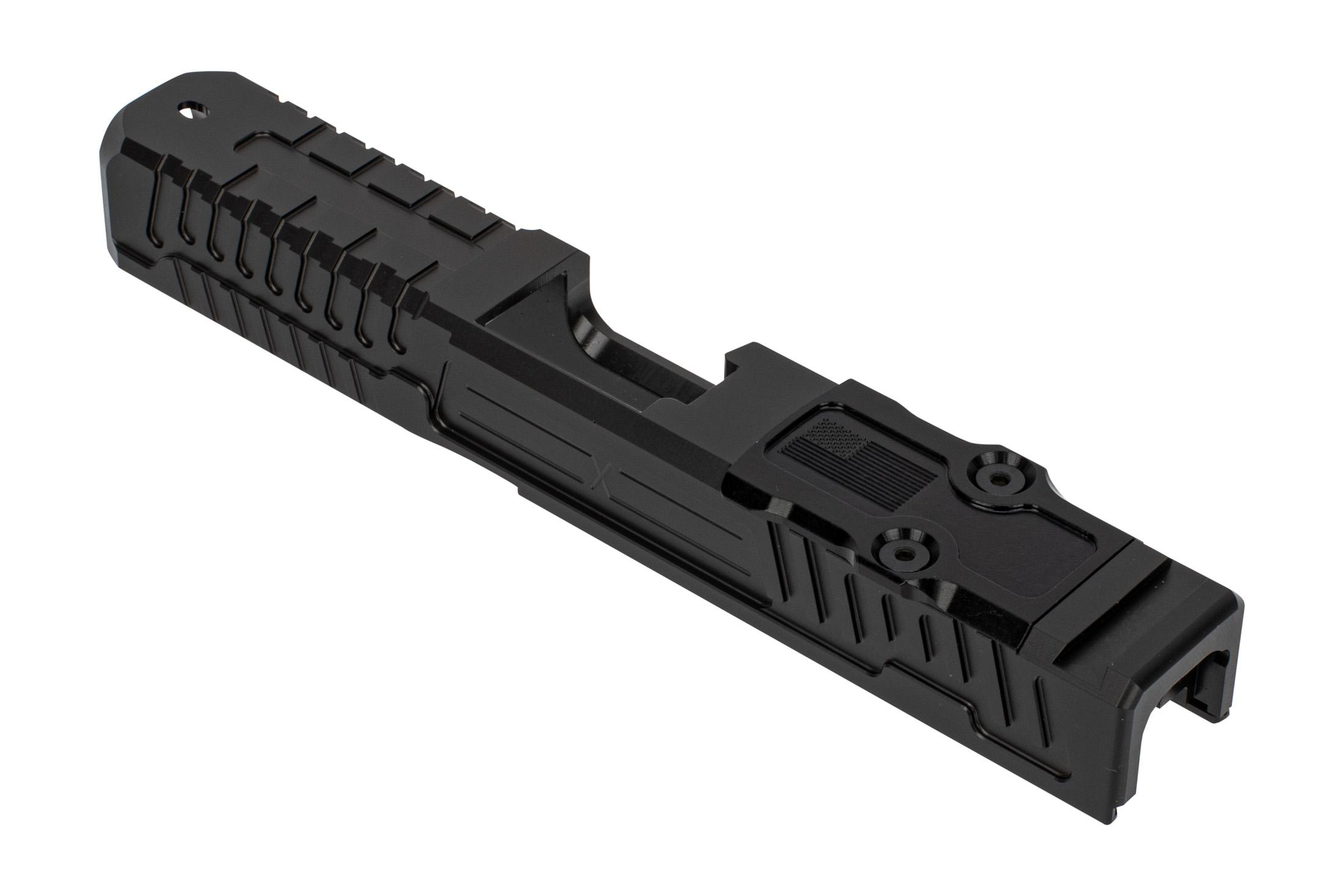 Faxon Firearms Patriot Glock 19 slide features a heavy duty black DLC finish