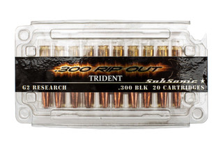 G2 Research Trident 300 Blackout subsonic ammo features a hollow point copper bullet