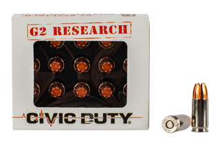G2 Research Civic Duty 9mm ammo features an all copper hollow point design