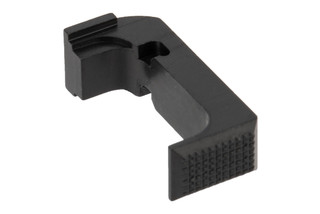 Shield Arms Glock 43X Extended Magazine release is machined from aluminum and anodized black