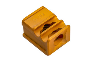 Glock Compensator Gen 4 SPARC V2 Muzzle Brake from Arc Division features a gold anodized finish