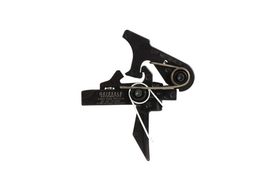 The Geissele Automatic Single Stage Precision SSP Flat Bow ar15 Trigger uses mil-spec .154in trigger pins for lower receivers
