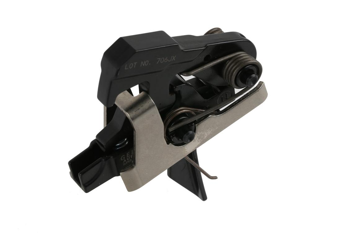 The Geissele Automatics Super MCX SSA Two Stage Flat Trigger has a flat trigger bow and 4.5 pound pull weight
