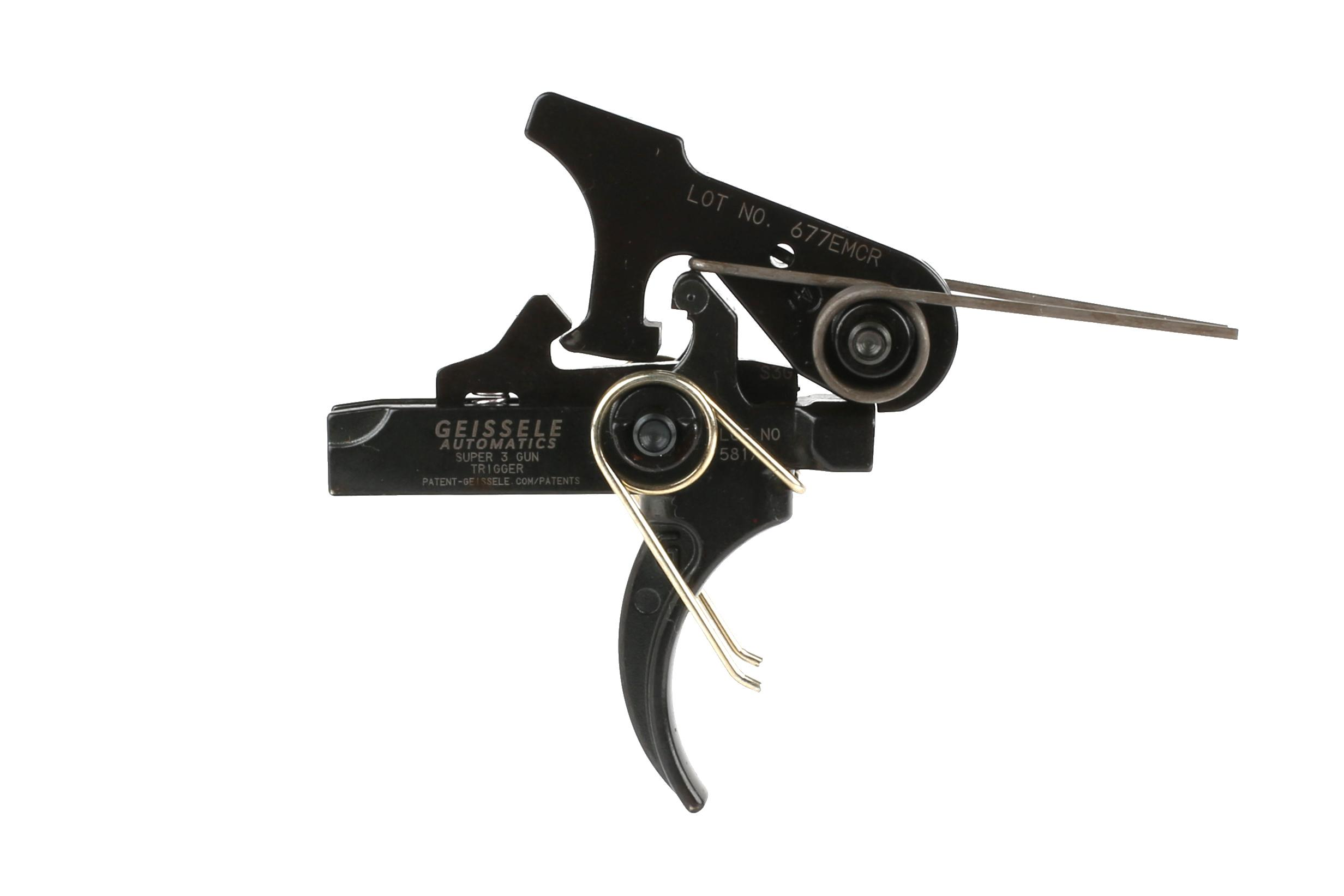 The Geissele Automatics Super 3 Gun S3G Hybrid AR15 Trigger features a curved trigger bow.