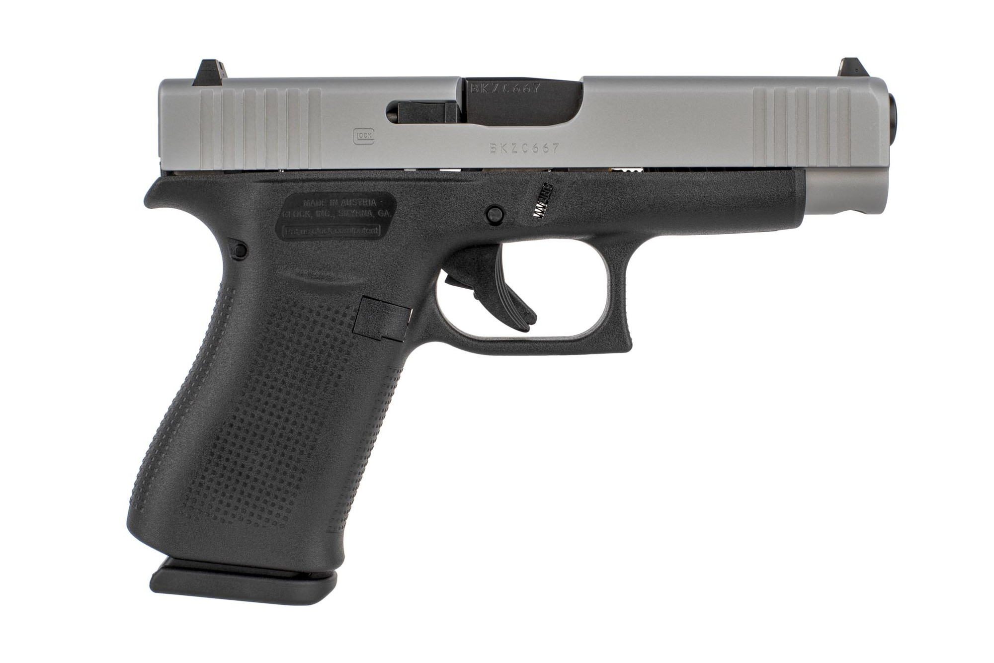 Glock 48 Blue Label 9mm pistol with a silver nDLC slide finish