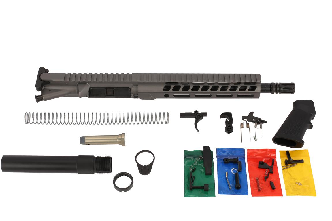 The Ghost Firearms 5.56 Elite Pistol Kit 10.5 features a Tungsten gray Cerakote finish