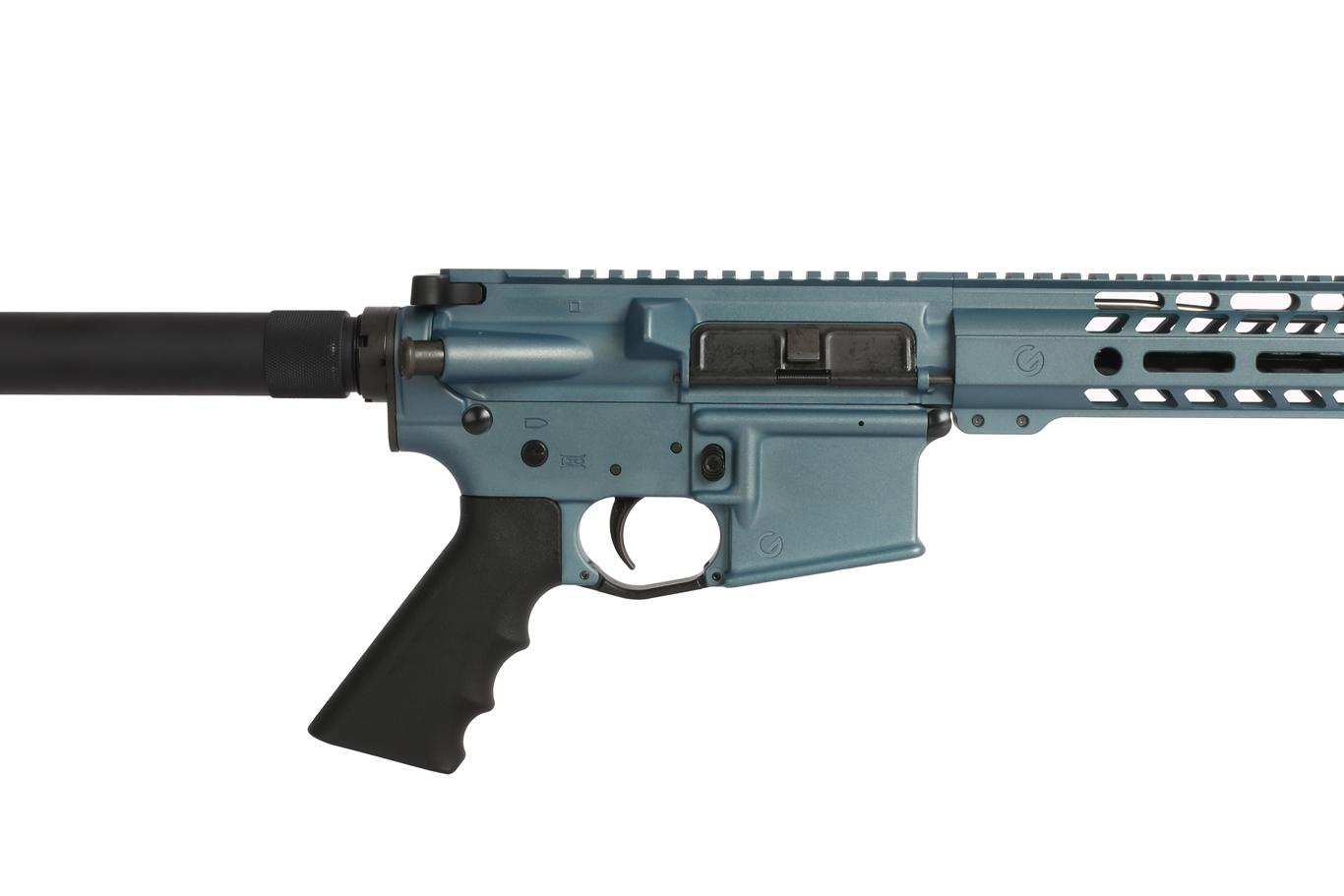 This ar15 pistol from Ghost Firearms has a blue titanium cerakote finish