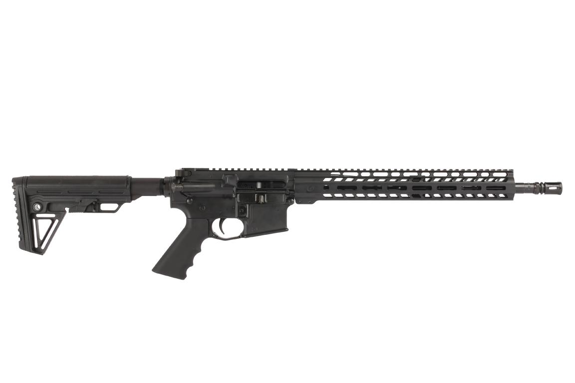The Ghost Firearms 5.56 AR15 features a 16 inch barrel and carbine length gas system