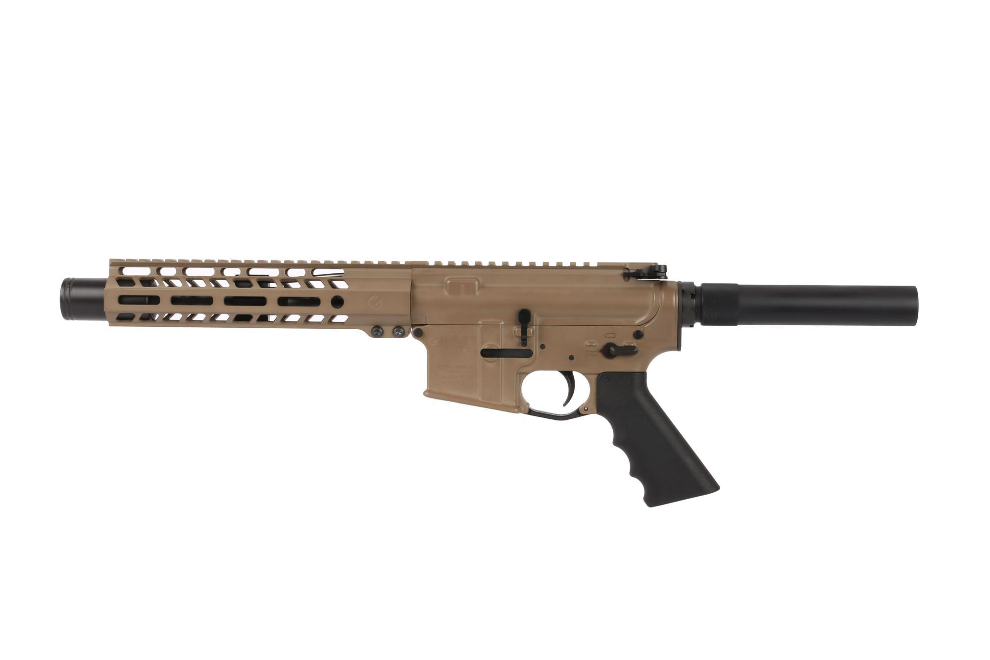 The Ghost Firearms AR-15 pistol with flash can and FDE Cerakote is the best