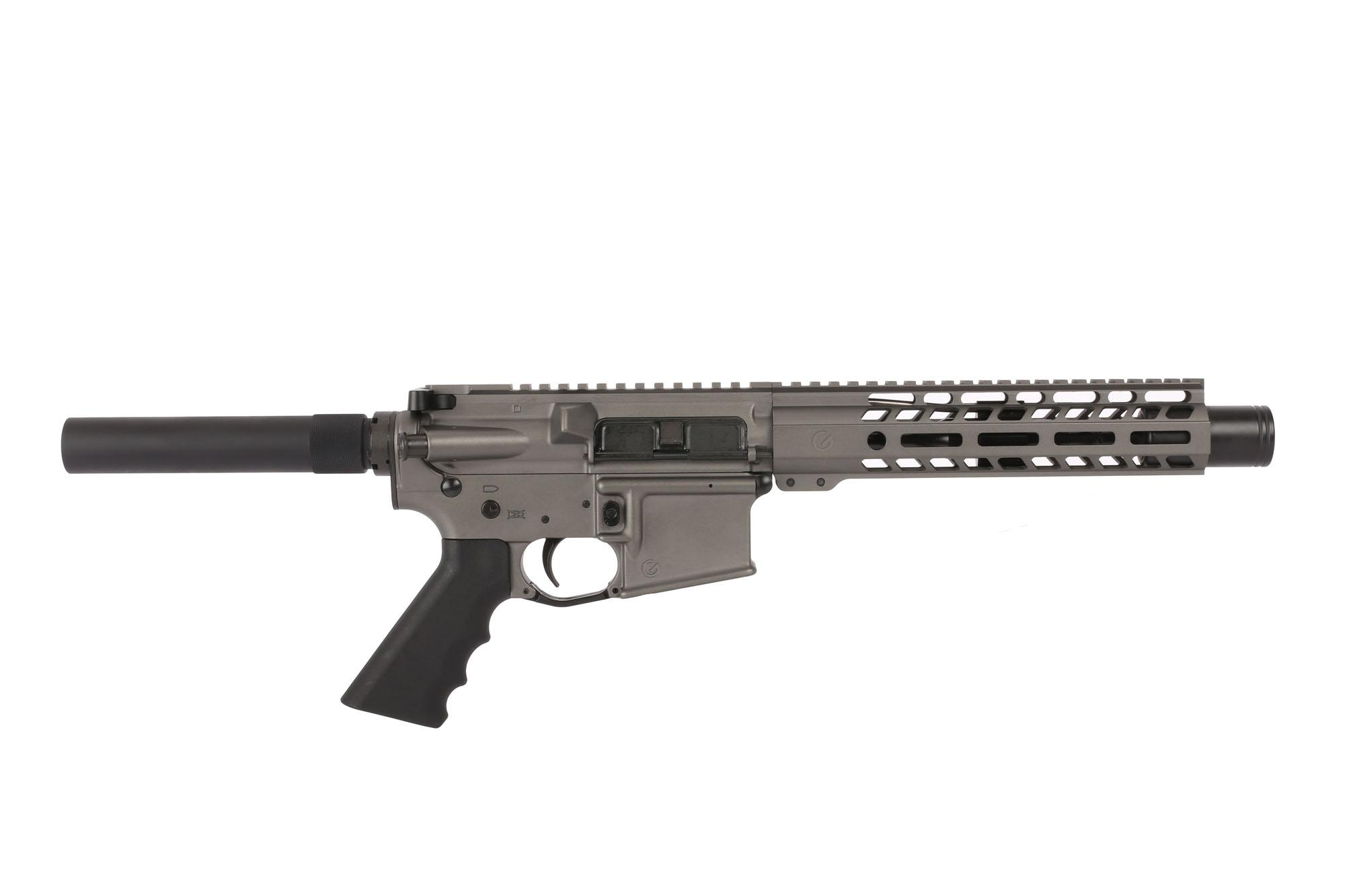 The Ghost Firearms Tungsten Gray AR Pistol features a 7.5 inch barrel and M-LOK handguard