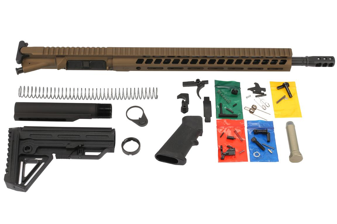 The Ghost Firearms 300 BLK elite rifle kit features a 16 inch barrel, M-LOK handguard and burnt bronze Cerakote finish