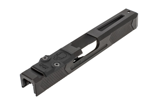 GGP stripped V4 Glock G17 Gen3 windowed slide with dual optic cut includes a G10 cover plate, shim plate, and mounting screws.