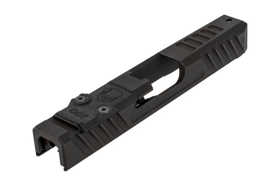 GGP stripped V3 Glock G19 Gen3 slide with dual optic cut includes a G10 cover plate, shim plate, and mounting screws.
