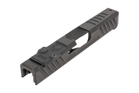 GGP stripped V3 Glock G19 Gen4 slide with dual optic cut includes a G10 cover plate, shim plate, and mounting screws.