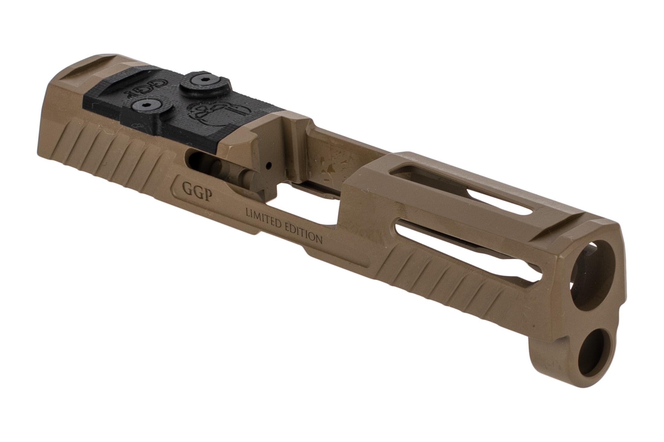 Grey Ghost Precision V1 slide for the SIG Sauer P320 Compacy features a slick FDE finish.