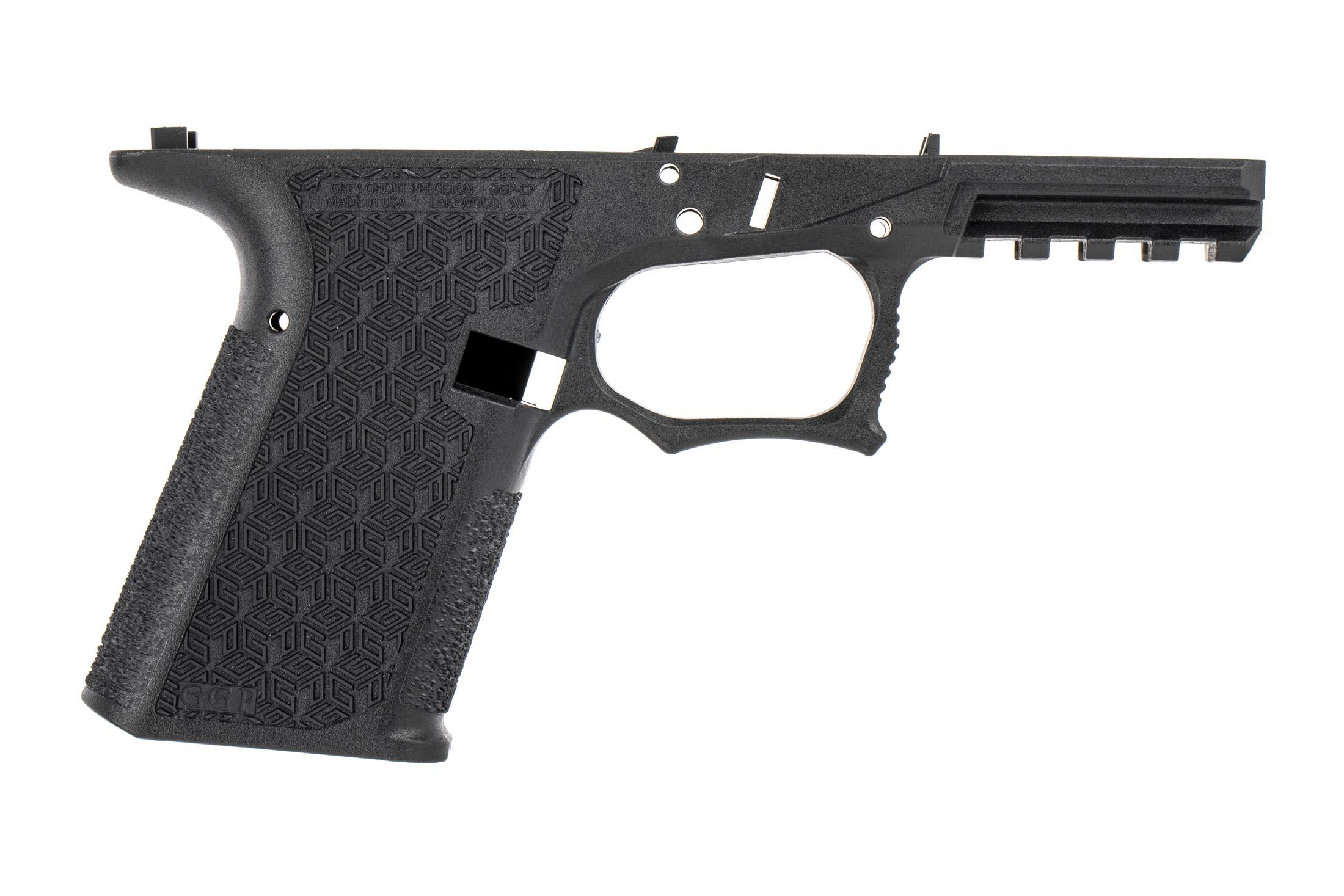 GGP black stripped Compact Combat Pistol Frame is a Gen3 compatible frame with double-undercut trigger guard