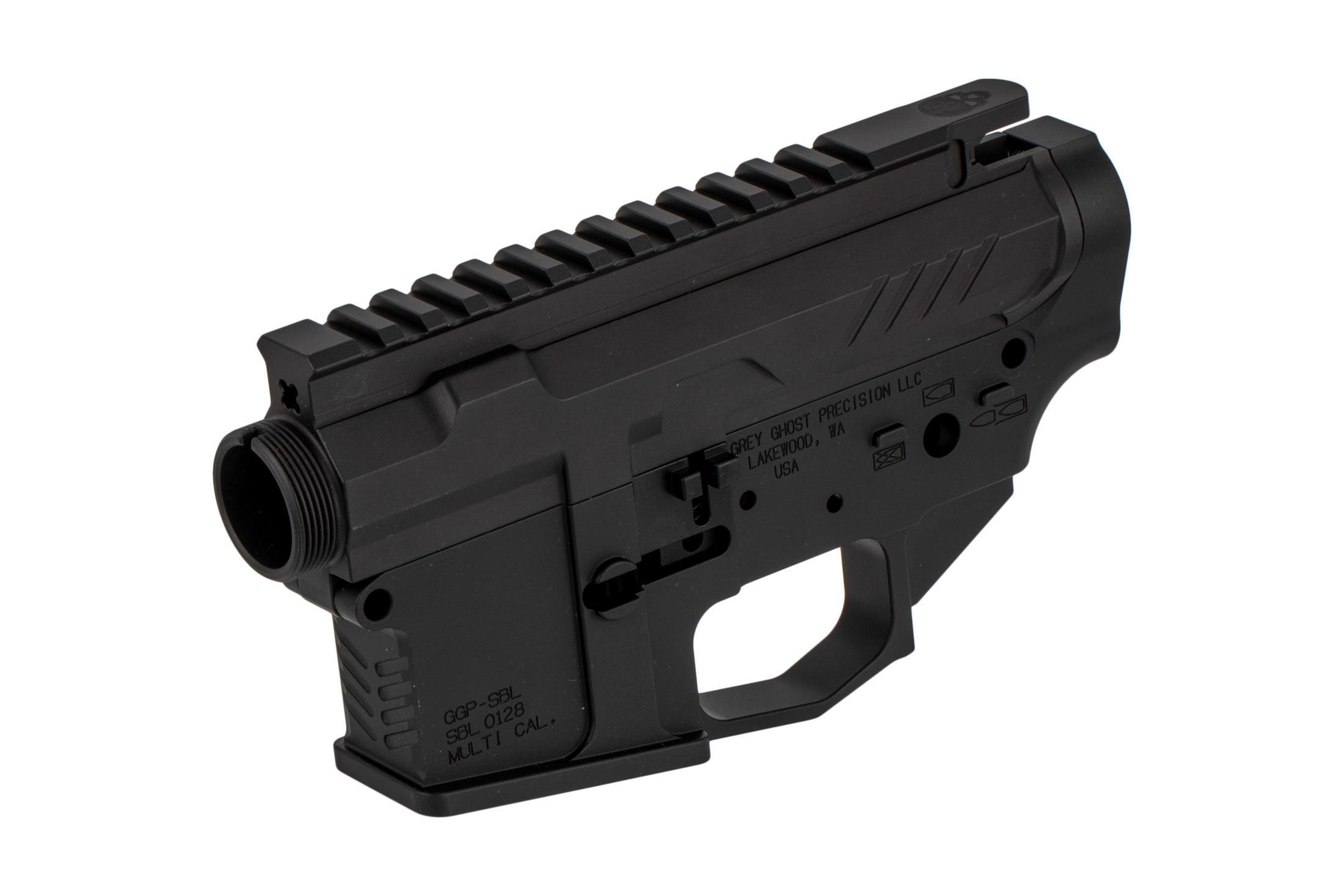 Grey Ghost Precision multi-caliber marked MKII Billet stripped AR 15 receiver set with chevron magwell texture