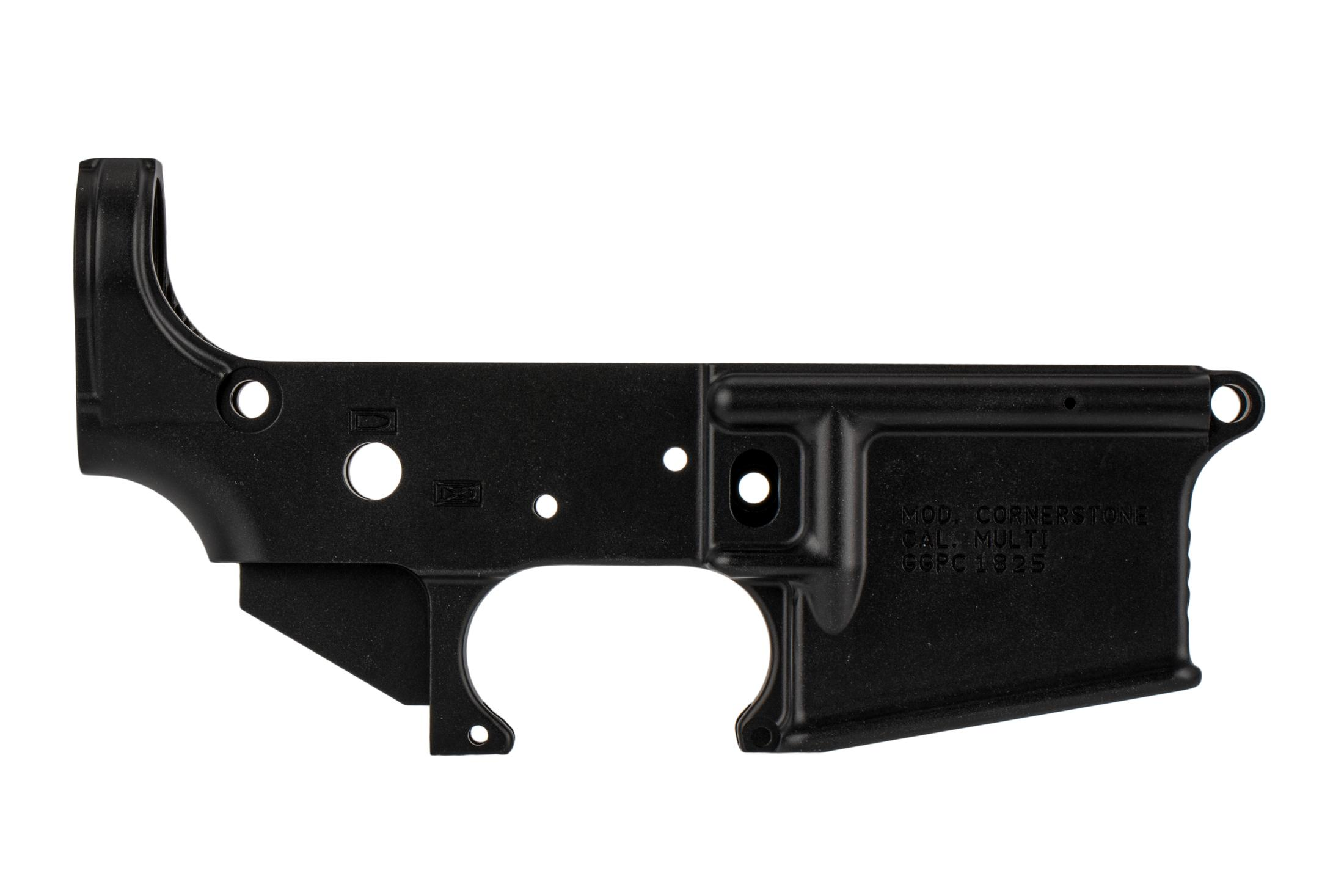 Grey Ghost Precision Cornerstone AR15 lower receiver features a tough hardcoat anodized finish