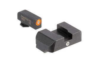 AmeriGlo I-Dot night sights provide fast sight alignment with orange outlined tritium lamps for large caliber Glock handguns