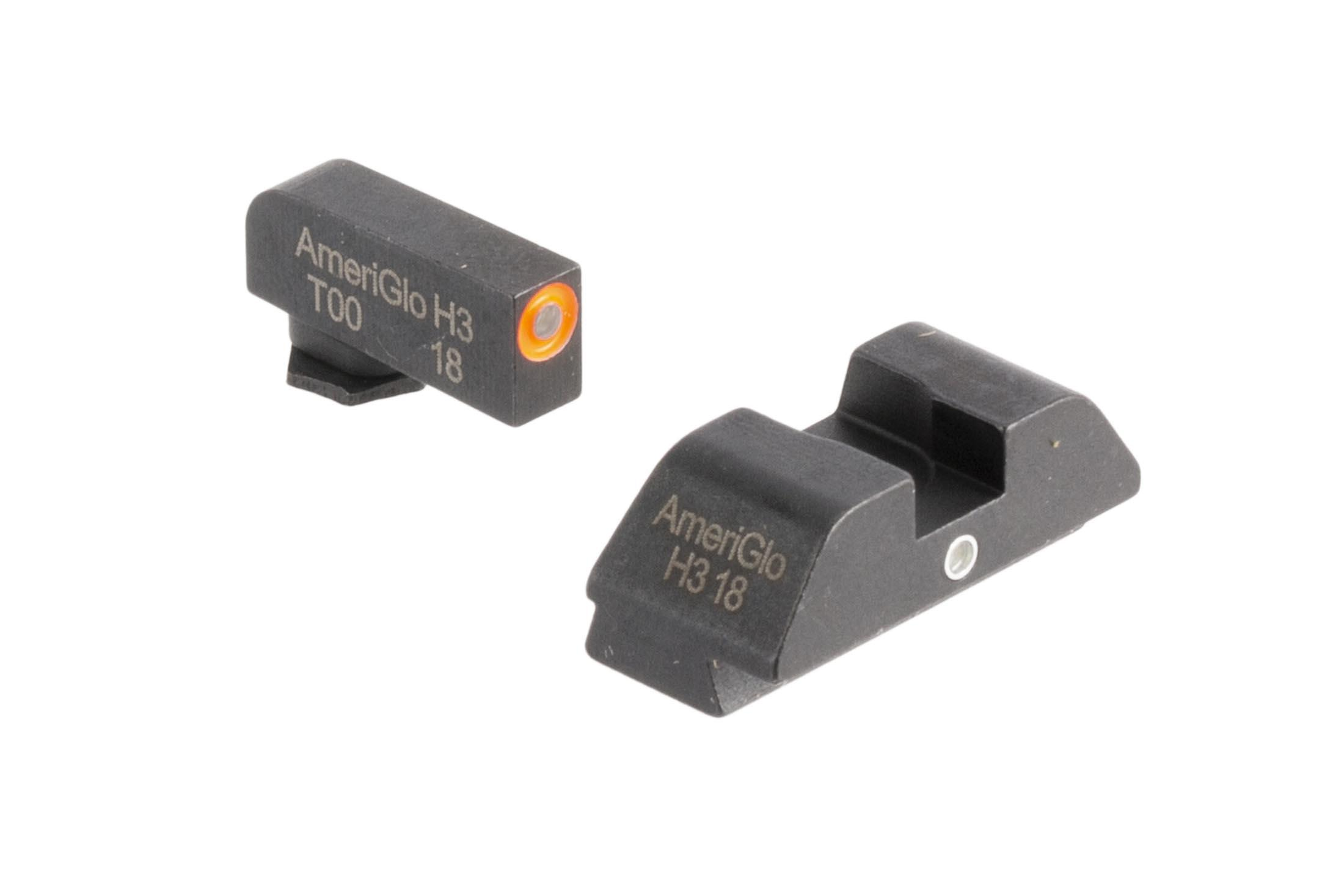 AmeriGlo I-Dot night sights provide fast sight alignment with orange outlined tritium lamps for Glock 42 and Glock 43 handguns