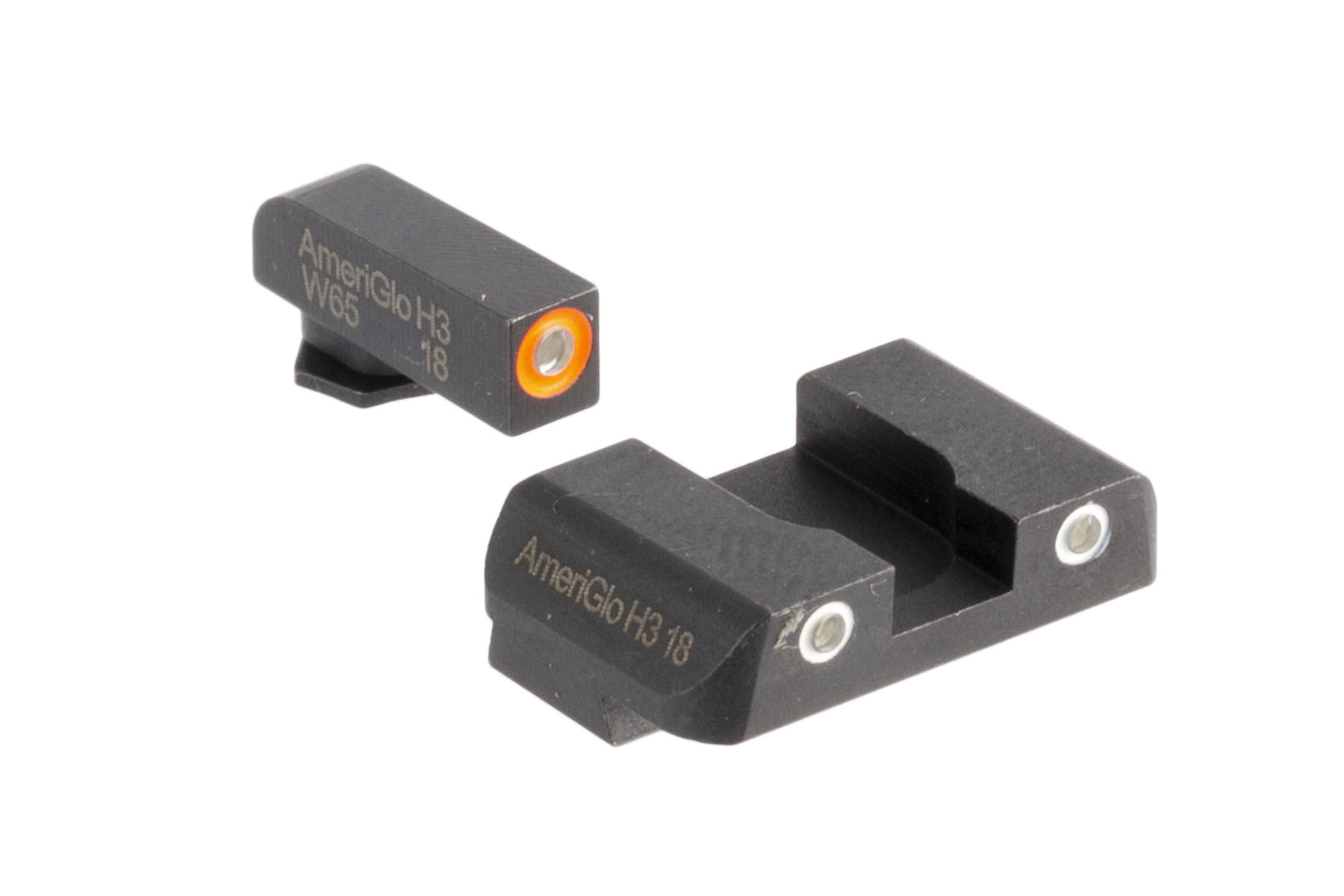 AmeriGlo Pro-Glo combo sets offer high contrast orange outlined front and white outlined rear sights for your Glock handgun