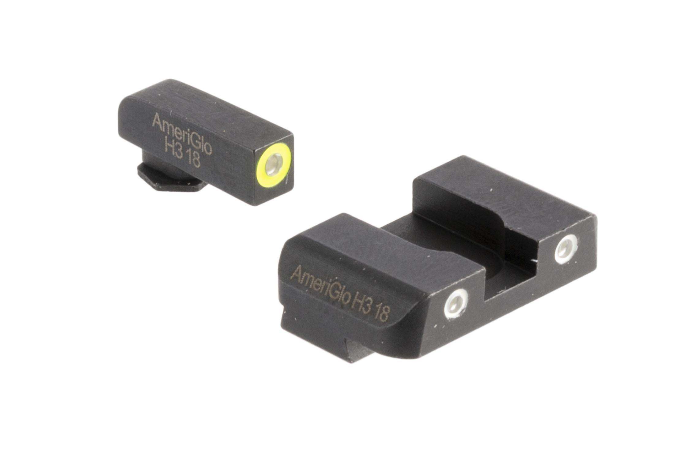 AmeriGlo Pro-Glo combo sets offer high contrast yellow outlined front and white outlined rear sights for your Glock handgun