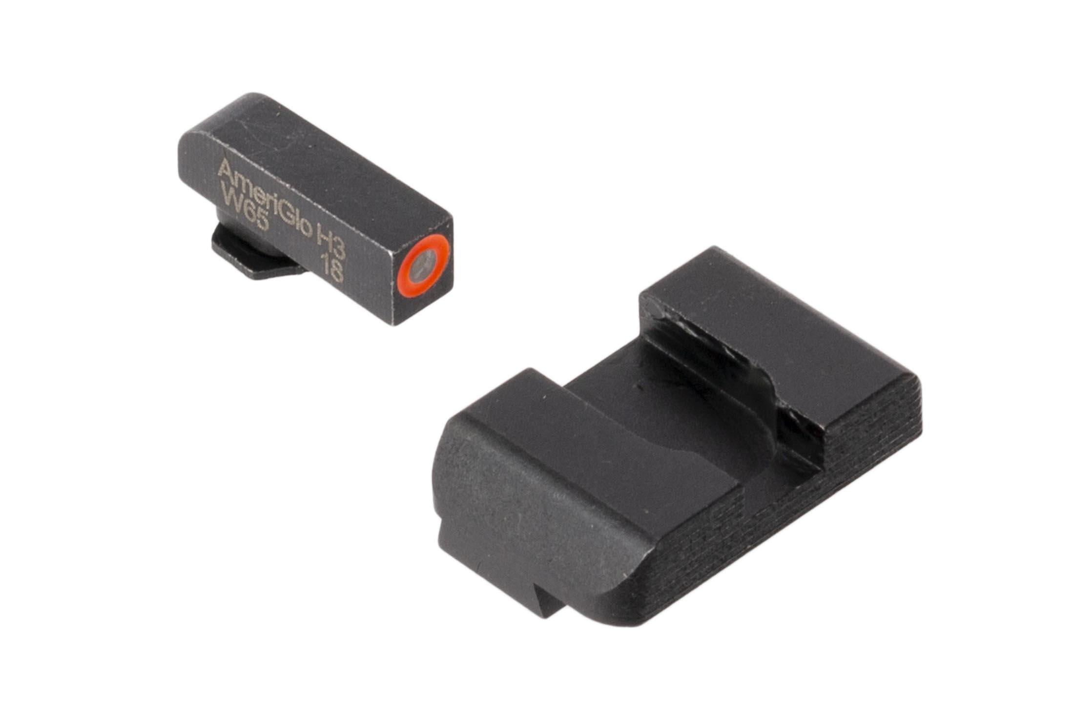 AmeriGlo Hackathorne sights for Glock handguns feature a high-contrast orange front sight with blacked out rear sight for fast acquisition