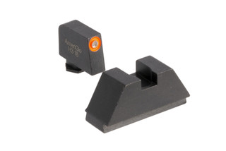 AmeriGlo suppressor height night sights for all Glock models except 42 and 43 with blacked out rear and hi-vis orange outlined green front sight