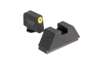 AmeriGlo suppressor height night sights for all Glock models except 42 and 43 with blacked out rear and hi-vis yellow outlined green front sight