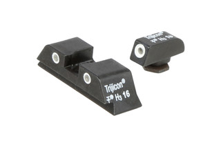 The Trijicon Bright & Tough night sight set for Glocks feature green Tritium inserts for low light shooting