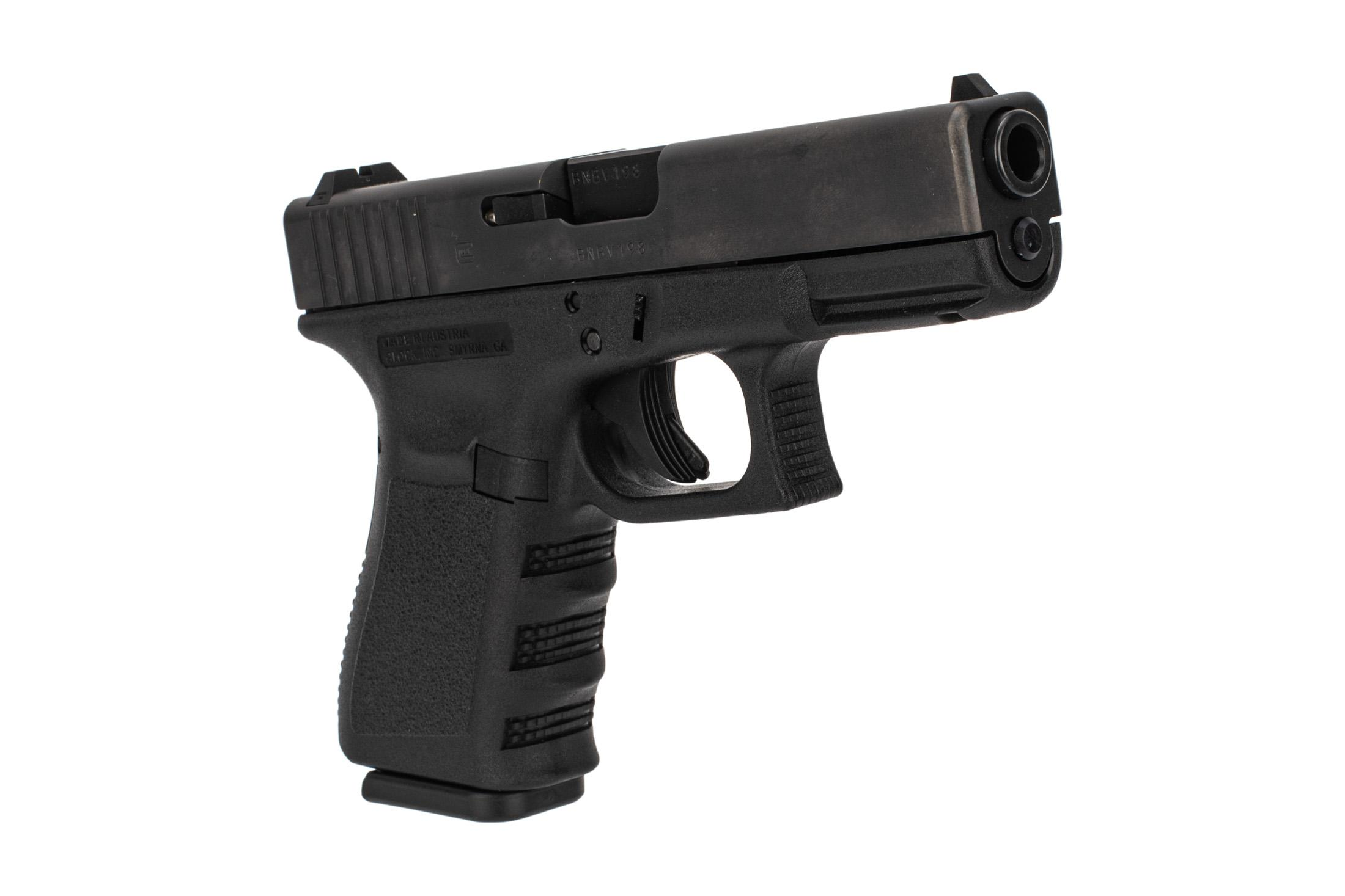 Glock G19 Gen3 9mm compact polymer frame handgun with standard sights and 10-round mags.