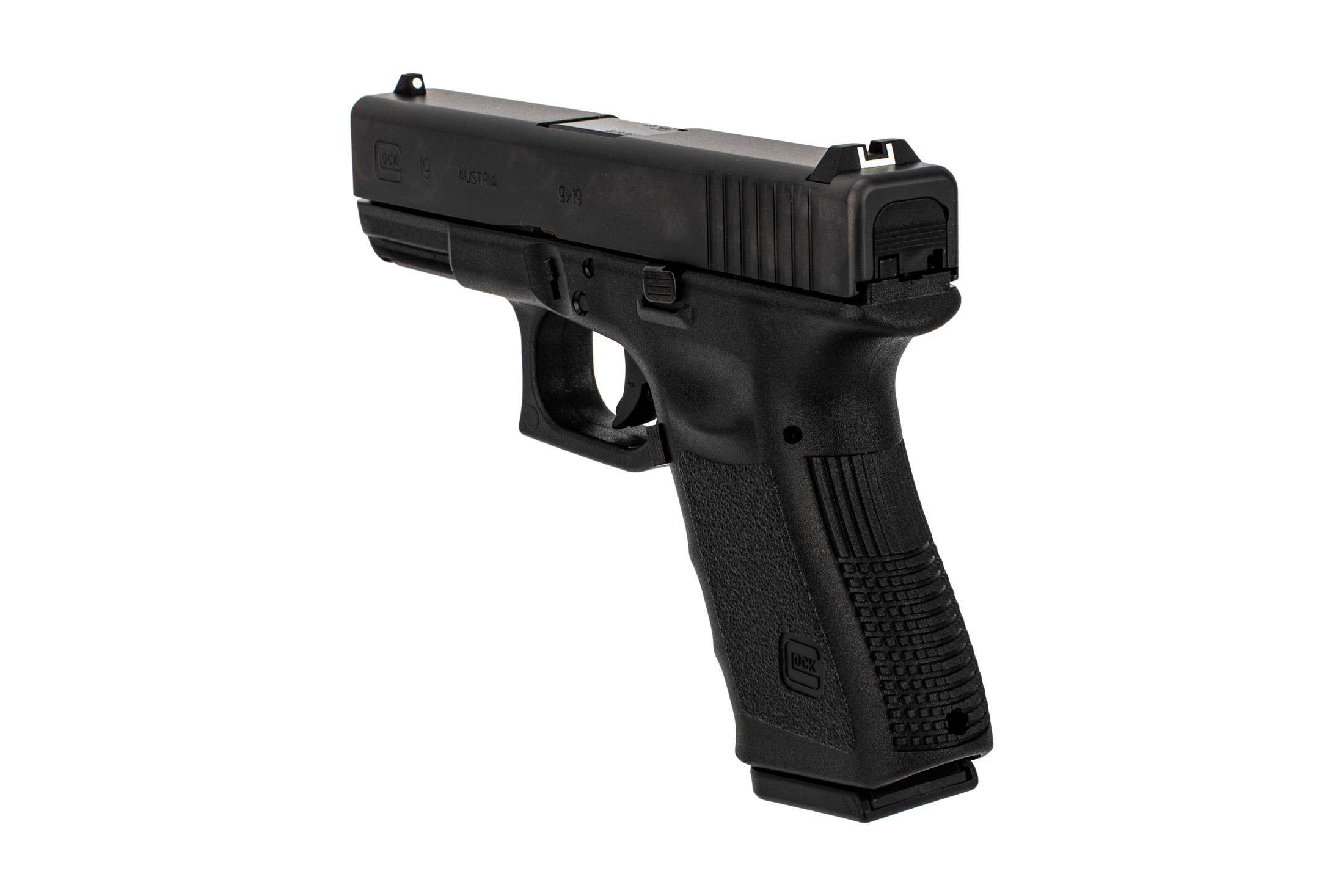 Glock 19 Gen 3 in 9mm with Dot-and-Bucket sights and and reduced capacity magazine
