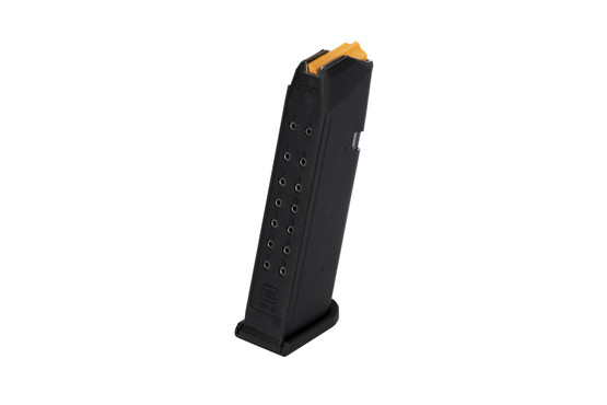 The Glock 17 round magazine features a hardened steel core with polymer shell