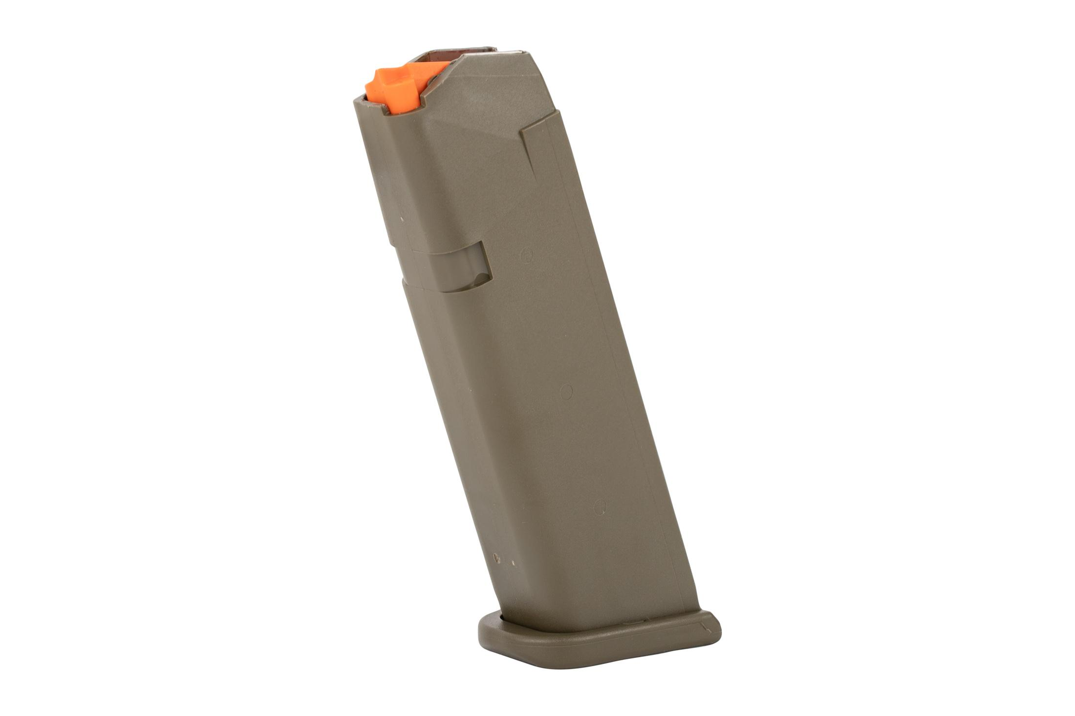 Glock OEM model 17 5th gen hi capacity mags have an olive drab finish and flared base plate for fast magazine changes