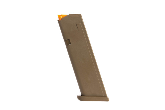 Glock OEM model 17 5th gen hi capacity mags have an FDE finish and flared base plate for fast magazine changes