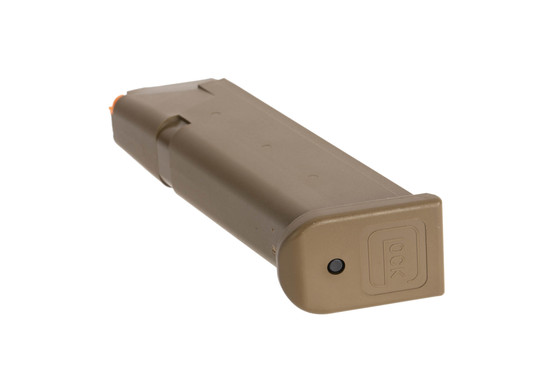 Glock standard capacity OEM 9mm Gen 5 G17 pistol magazine with flared base plate and FDE finish