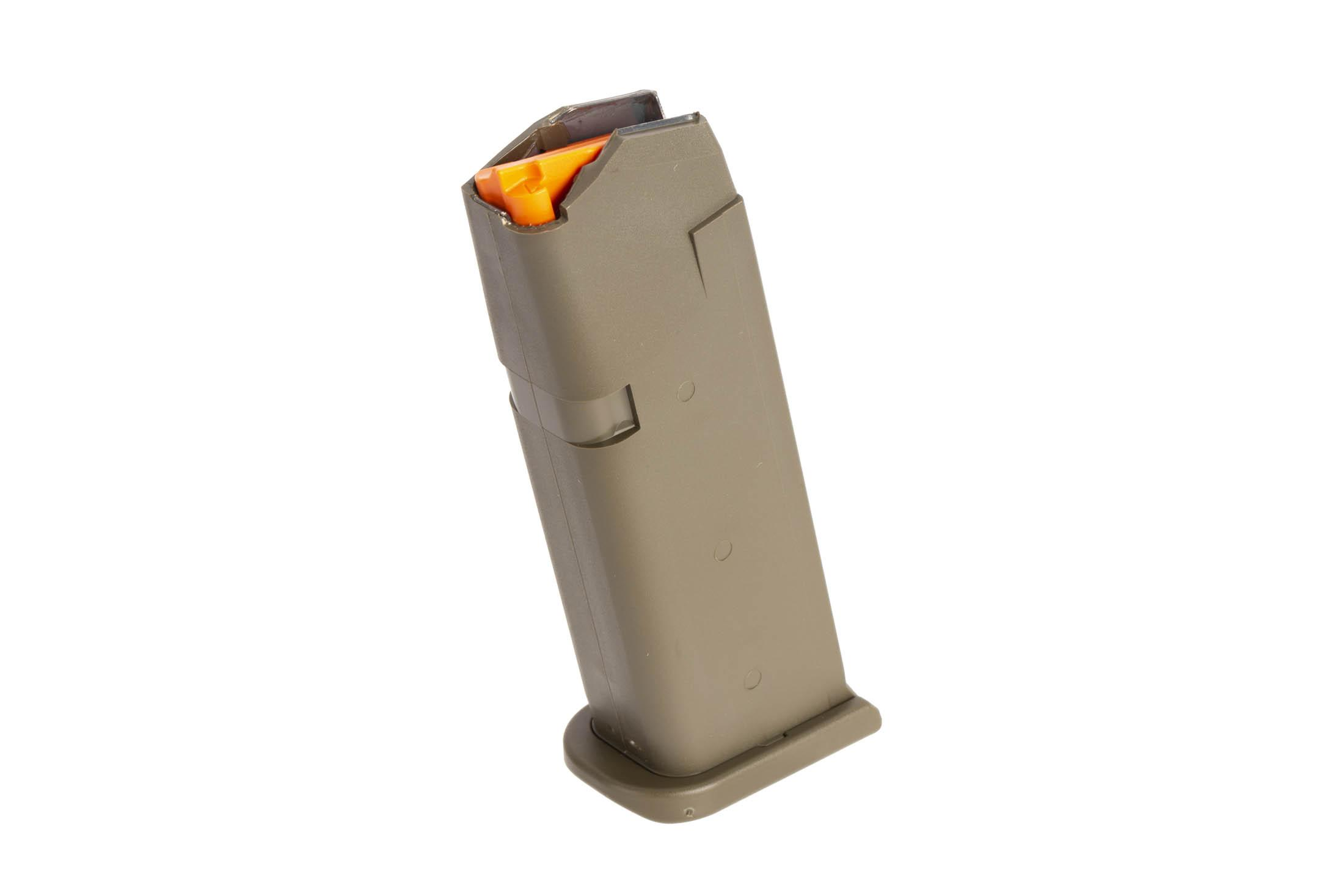 Glock odg G19 Gen 5 15-round 9mm steel reinforced polymer magazine with high visibility follower and ambi mag catch cuts