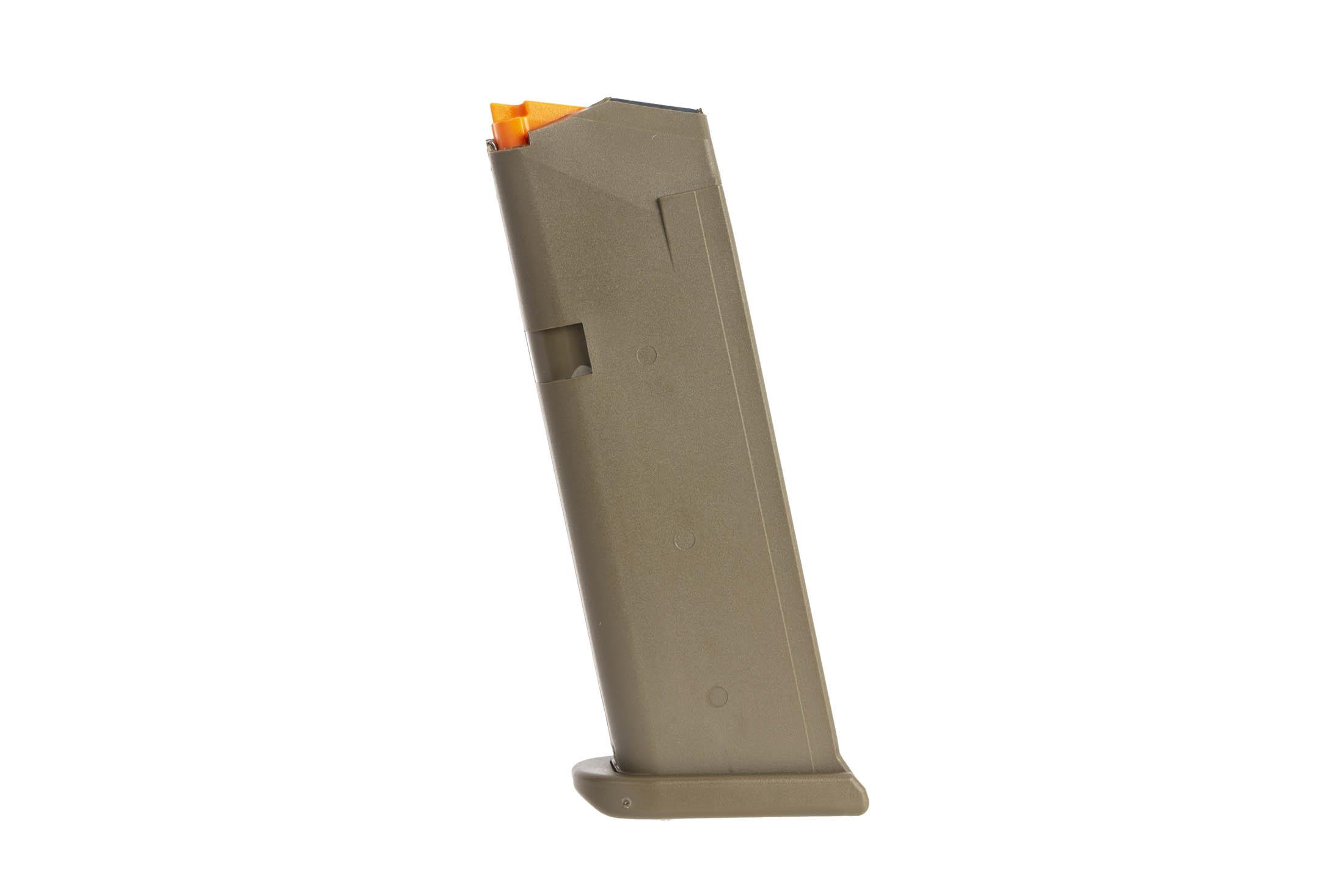 Glock OEM model 19 5th gen hi capacity mags have an olive drab finish and flared base plate for fast magazine changes