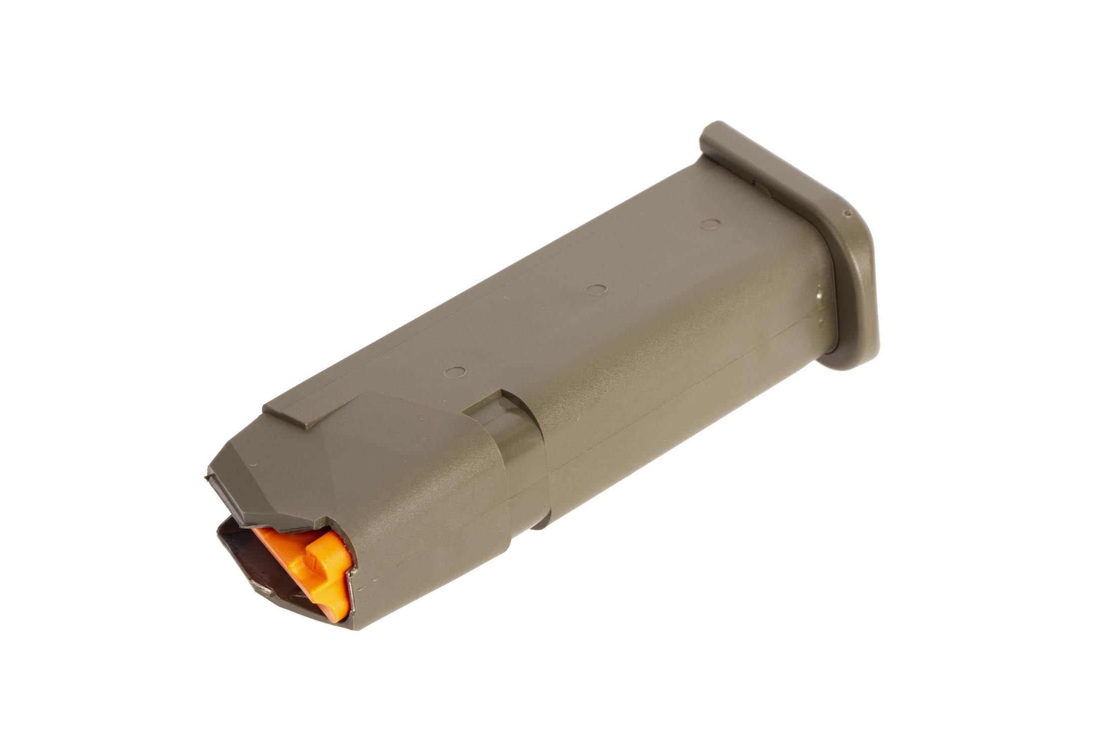 GLOCK factory original G19 Gen5 pistol magazine holds 15 rounds has an ODG finish and hi vis follower