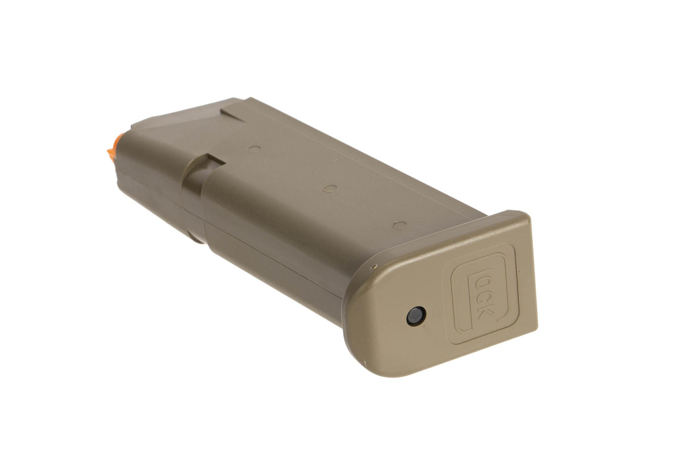 Glock standard capacity OEM 9mm Gen 5 G19 pistol magazine with flared base plate and olive drab green finish