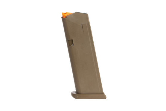 Glock OEM model 19 5th gen hi capacity mags have an FDE finish and flared base plate for fast magazine changes