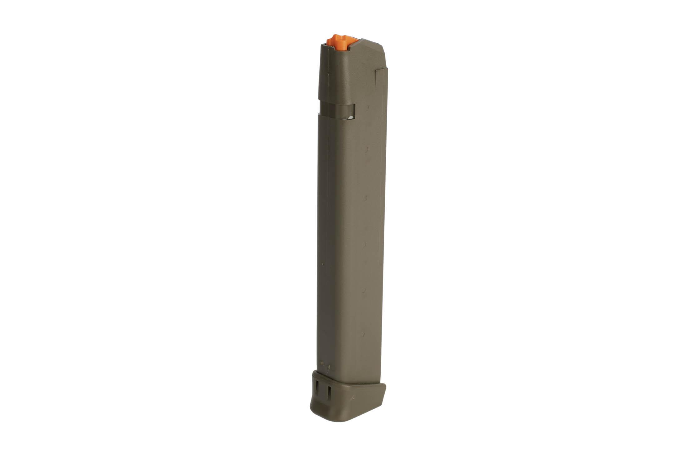 Glock G17 Gen 5 33-round 9mm ODG steel reinforced polymer magazine with high visibility follower and ambi mag catch cuts