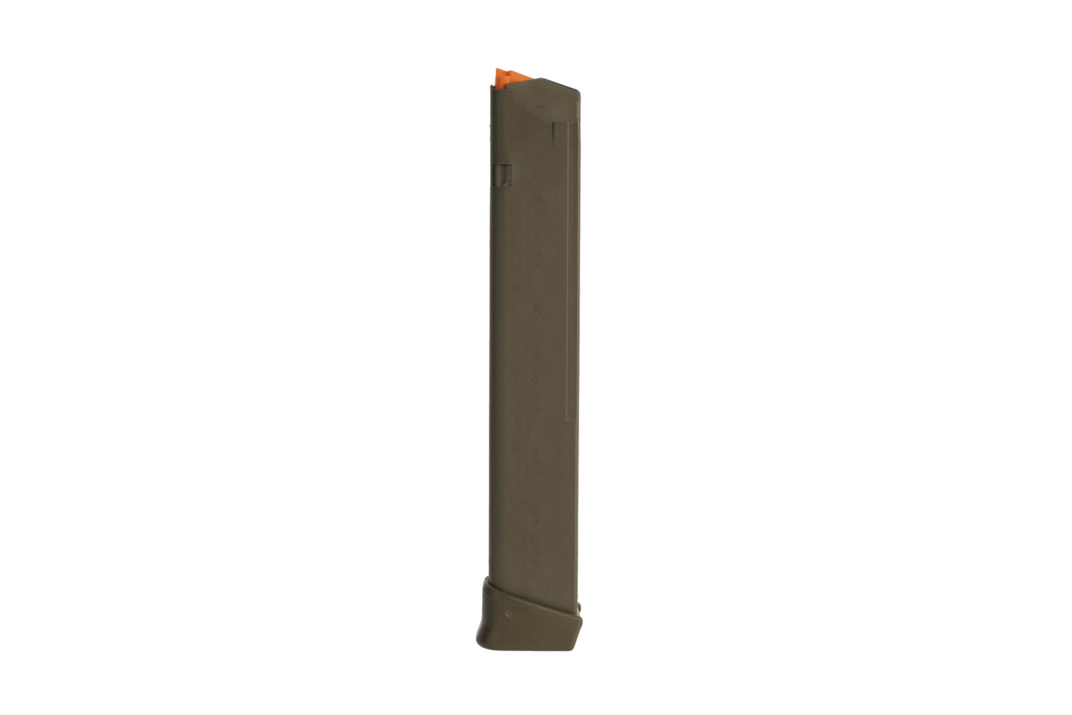 Glock OEM model 17 5th gen 33-round hi capacity mags have an ODG finish and extended base plate for fast magazine changes