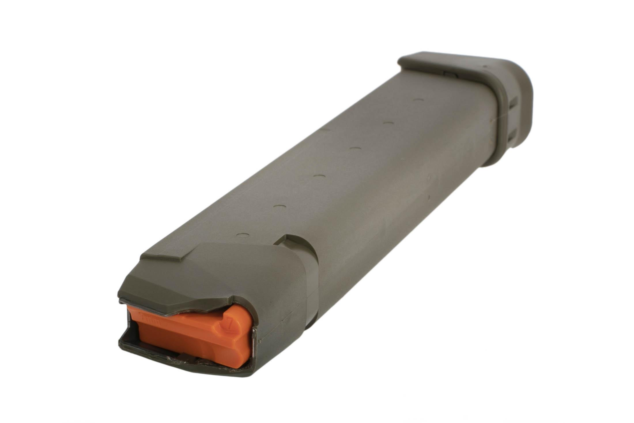 GLOCK factory original G17 Gen5 pistol magazine holds 33 rounds of 9mm has an olive drab green finish and hi vis follower