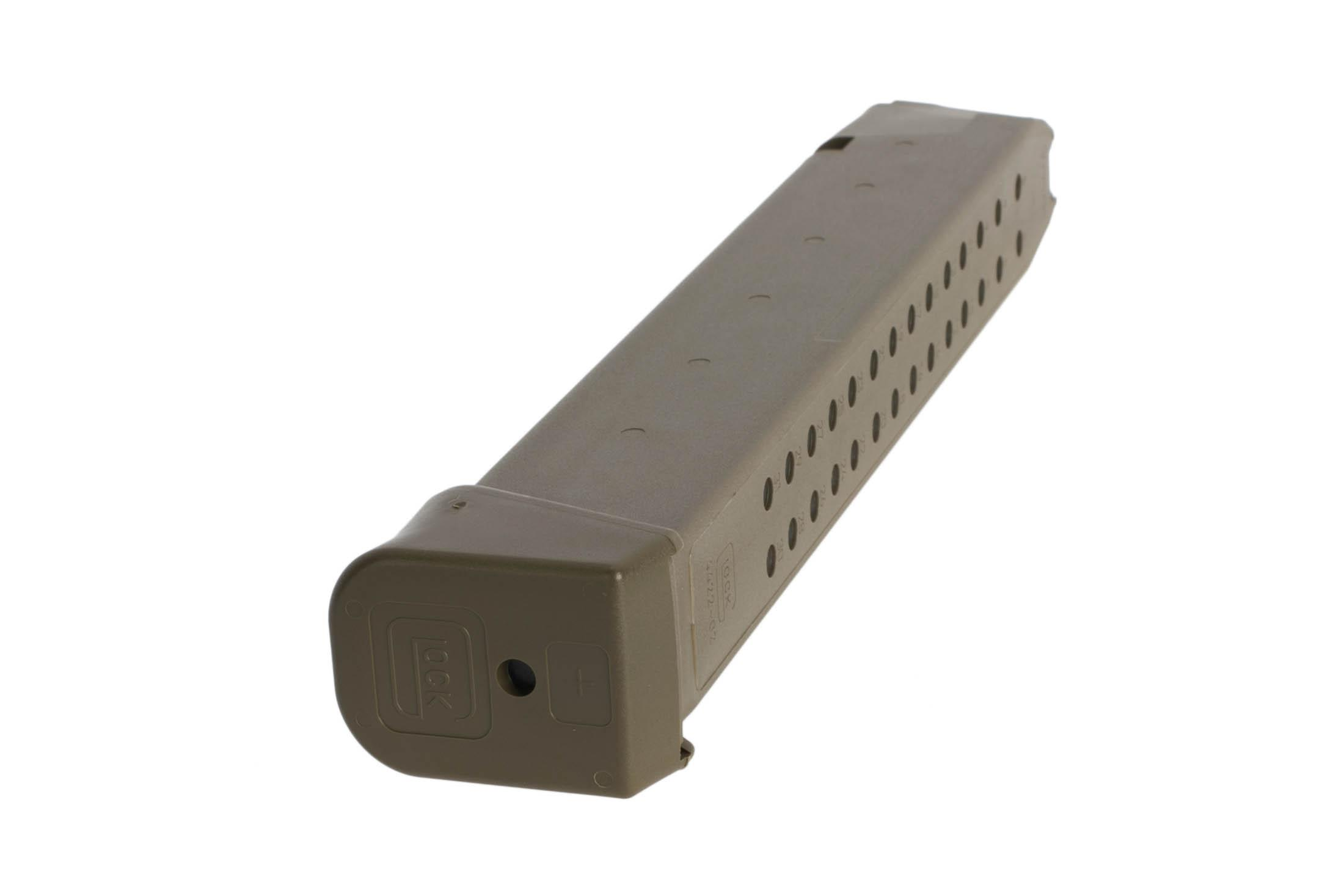 Glock high capacity OEM 9mm Gen 5 G17 pistol magazine with Plus 2 base plate and ODG polymer body with steel reinforced core.