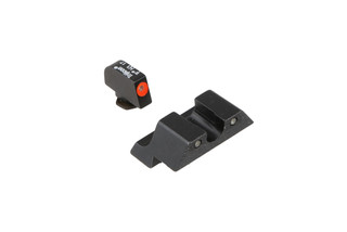 The Trijicon HD XR Tritium Glock Night Sight Set features a green and orange front with a green rear