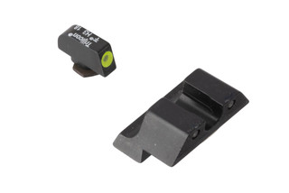 Trijicon HD XR 10mm Glock night sights feature a blacked out rear sight with wide U-notch and hi-vis yellow front sight with tritium inserts.